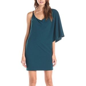 Halston Heritage One Shoulder Cowl Neck Dress NEW